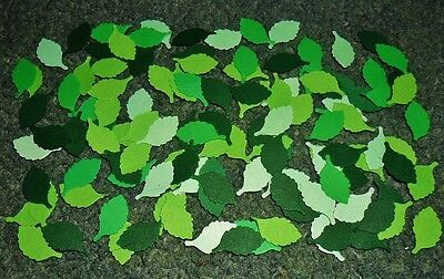 200 Mixed Green Birch Leaves Cardmaking Punchies Punch Toppers Scrapbooking New
