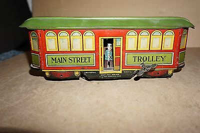 Early Vintage Tin Toy Wind Up Main Street Train Trolley By Nifty Of Germany Tram