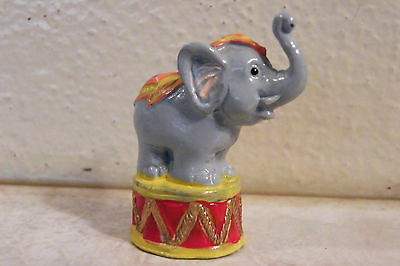 "VINTAGE miniature Lead CIRCUS ELEPHANT FIGURINE Metal ENAMELED 1-1/2"" TRUNK UP"