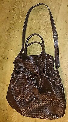 ladies large brown faux leather slouch bag