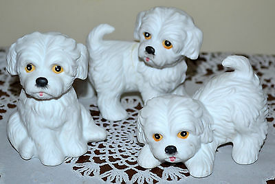 Perfect! Vintage Homco, Home Interiors Set Of 3 Maltese Dog's, Puppy Figurine