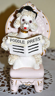 """Perfect! Vintage Shafford Spaghetti Poodle Figure, Reading """"poodle Press"""" Paper"""