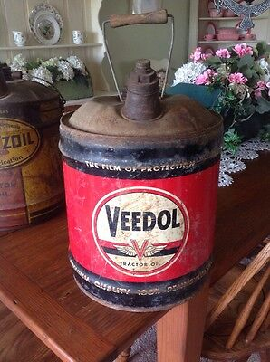 Vintage VEEDOL Tractor Oil Tidewater Oil Co 5 Gallon Gas Station Can Sign LOOK