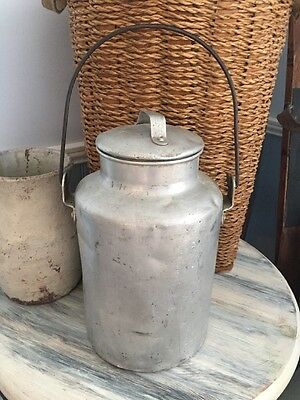 Vintage Aluminum Milk Can Cream Can With Lid and Handle Silver