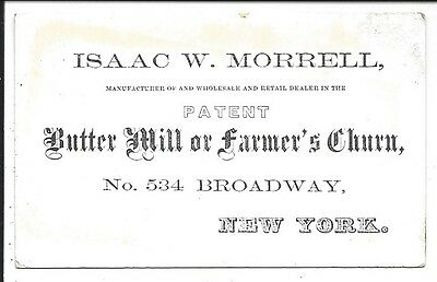 c1860 Polished Stock Business Card Patent Butter Mill/Farmer's Churn, I. Morrell