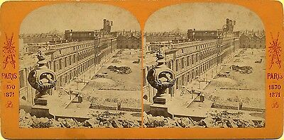 EXC 1871 Stereoview, Paris, France Siege, Ruins & Courtyard from Above, Good 3D