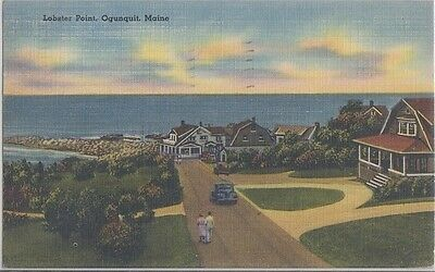 OGUNQUIT MAINE - LOBSTER POINT and MARGINAL WAY 1940s OLD CARS + HOMES / PRETTY