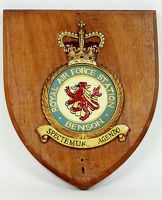 Royal Air Force Station BENSON Wall Plaque / Shield ~  RAF ~ Signed & Dated