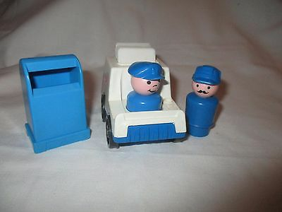 Vtg Fisher Price Little People Main Street Mailman & Woman Truck Mail Box Letter