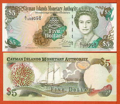 P27  Cayman Islands   5  Dollar 2001  UNC
