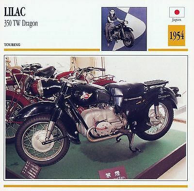 1954 LILAC 350 TW DRAGON motorcycle collector card.