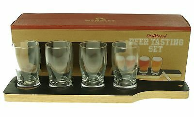 WEMBLEY NEW Black Chalkboard Serving Board 5oz. Beer Tasting Set $50 #288