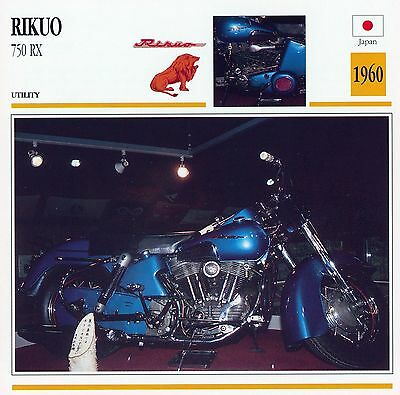 1960 RIKUO 750 RX motorcycle collector card.