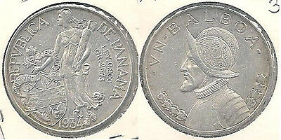 1934 Panama 1 Balboa Silver Coin in Extra Fine to Almost Uncirculated Condition~