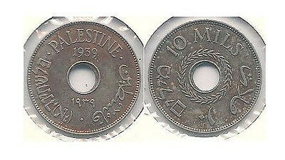 1939 Palestine 10 Mills Coin in Extra Fine to Almost Uncirculated -- KM #4 ~