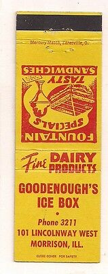 Goodenough's Ice Box Dairy Prod. 101 Lincolnway West, Morrison IL Matchcover