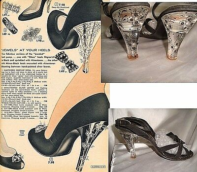 7.5N vtg 50s 1950s high heels shoes QUALICRAFT LUCITE HEELS sling strappy pin up
