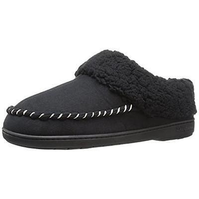 Dearfoams 8372 Womens Black Microsuede Faux Fur Clog Slippers Shoes S 5-6 BHFO
