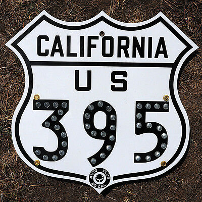 California ACSC glass reflector US route 395 highway road sign auto club AAA