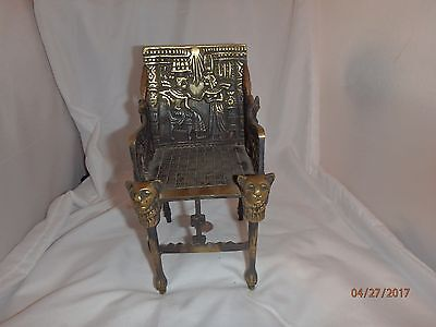 Egyptian  Small Solid Brass Detailed Egyptian Lion Head & Feet Chair