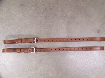 Leather Luggage Straps for Luggage Rack Carrier 2pc Set Lt Med Brown SS Buckles