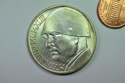 mw8592 Italy; Silver 20 Lire MCMXLIII - 1943 Revers: Bust of Benito Mussolini