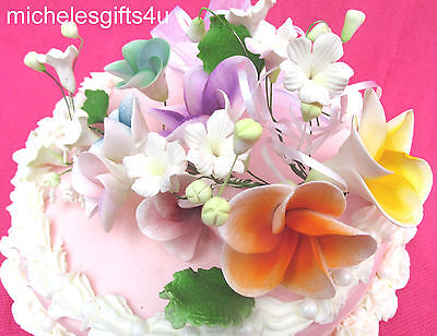 Sugar Gum Paste Rainbow Colors Frangipani Hawaiian Cake Decorating Flowers