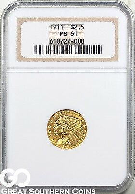 1911 NGC Quarter Eagle, $2.5 Gold Indian NGC MS 61 ** Very Nice, Free Shipping!