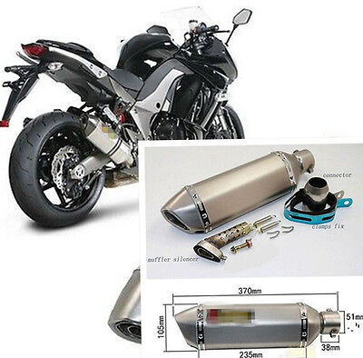 NEW 38-51mm Motorcycle Exhaust Muffler Pipe Titanium With Removable DB Killer