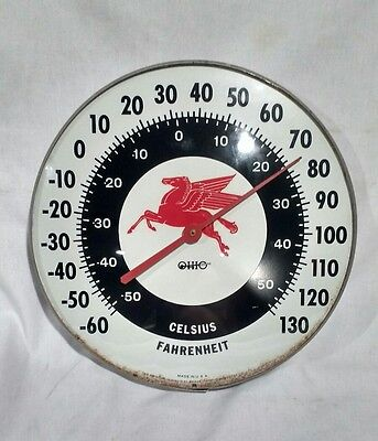 "Vintage Mobilgas 12"" Round Thermometer Pegasus Mobil Gas Oil Sign Pump Station"