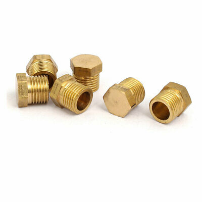 6 Pcs 1/8BSP Male Thread Brass Hex Head Pipe Plug Connector Fitting