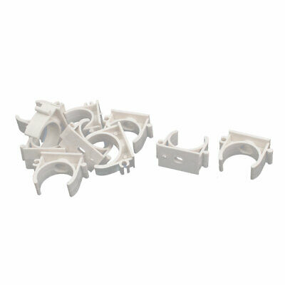 1 Inch Dia PVC U Shaped Pipe Fitting Clamps Clips Water Tube Holder White 10pcs
