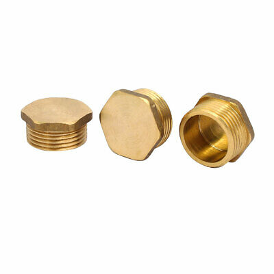 3 Pcs 3/4BSP Male Thread Brass Hex Head Pipe Plug Connector Fitting