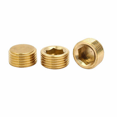 3 Pcs 1/2BSP Male Thread Brass Hex Soket Head Pipe Plug Connector Fitting