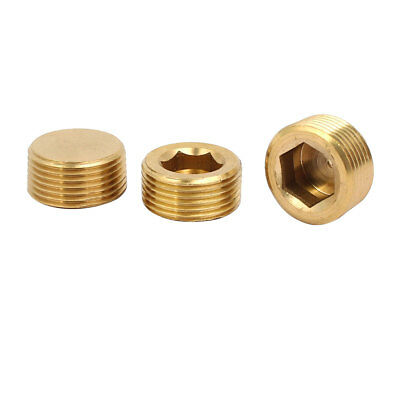 3 Pcs 3/4BSP Male Thread Brass Hex Soket Head Pipe Plug Connector Fitting
