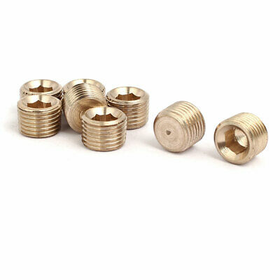 8 Pcs 1/8BSP Male Thread Brass Hex Soket Head Pipe Plug Connector Fitting