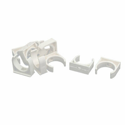 32mm Dia PVC U Shaped Pipe Fitting Clamps Clips Water Tube Holder White 10pcs