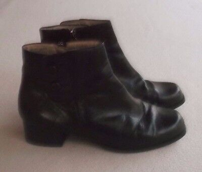 Portland Black Leather Comfort Ankle Boots Size 8.5