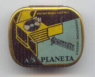 "VINTAGE LATVIA GRAMOPHONE NEEDLES TIN ""PLANETA"" RIGA 1930s GREEN TYPE RARE"
