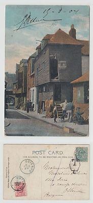 Great Britain Old Postcard Fish Market Folkestone To Belgium Postage Due 1903 !!