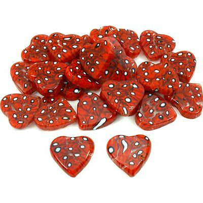Red Millefiori Heart Glass Bead Pendants Approx 25