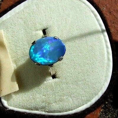 Absolutely Stunning Antique Art Deco Black Opal Doublet & Silver Ring. Sz L 1/2.