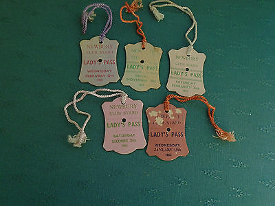 5 DIFFERENT 1950s NEWBURY NH CLUB STAND = HORSE RACING CARD BADGES