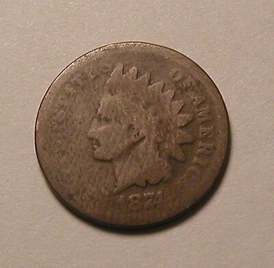 1874 Indian Head Cent,tougher Date!!!(R)