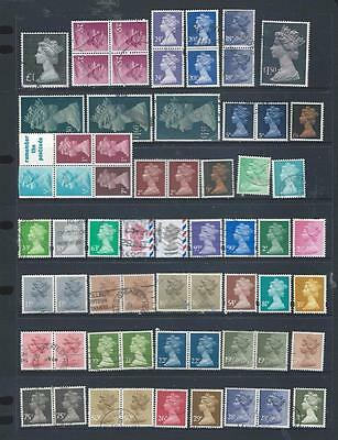Great Britain  lot 3 good used selection of machins, inc blocks, pairs etc [679]