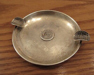 Vintage Portugal coin silver ashtray 3 c.1750 Joannes V In Hoc Signo coins 55g