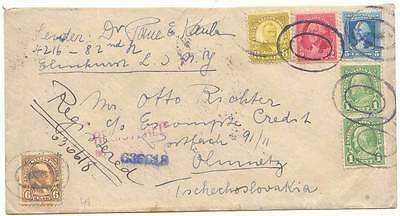 USA 1933 REGISTERED MAIL COVER OVERSEAS to CZECHOSLOVAKIA, ATTRACTIVE