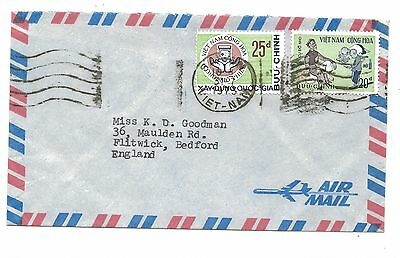 Vietnam War Period Kontum Mission Air Mail Cover 1973 to Bedford