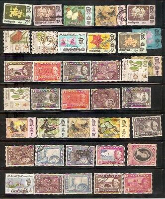 a stock page of used & some MH stamps from early Mayala.(Ma-2)