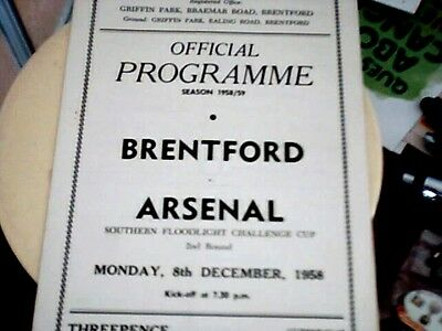 58/59 Brentford V Arsenal [Southern Floodlight Challenge Cup Round 2]Nice Condit